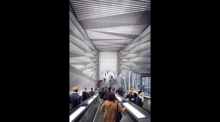 05 Liverpool Street station - proposed upper escalator with inclined lift from Broadgate ticket hall